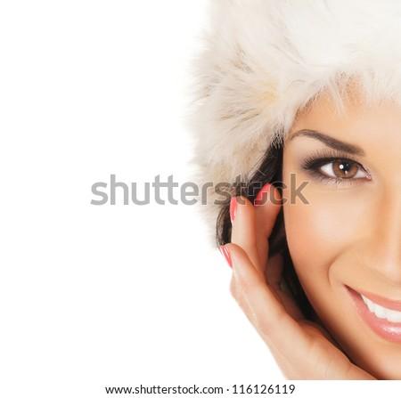 Beautiful Christmas portrait over white background - stock photo