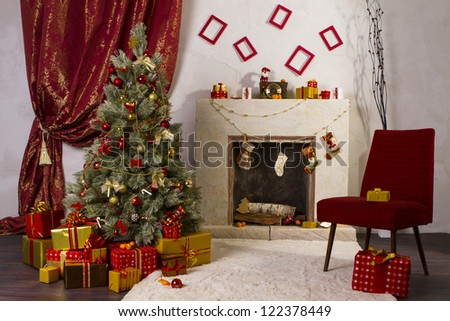Beautiful Christmas room with fireplace. - stock photo
