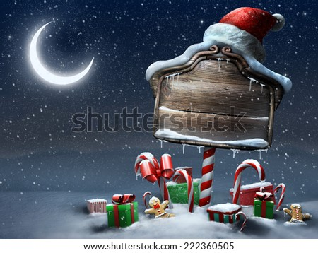 Beautiful Christmas sign outdoors night scene - stock photo