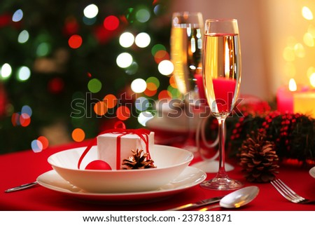 Beautiful Christmas table setting - stock photo