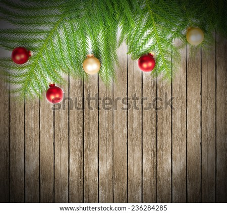 Beautiful Christmas Tree decoration over wall background