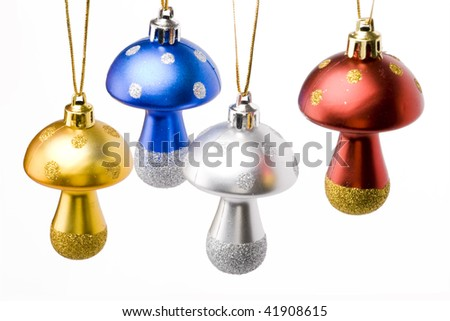 beautiful christmas tree decorations mushrooms on a white background