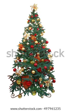 Beautiful christmas tree isolated on white background. christmas manipulation, for collage , photo montage