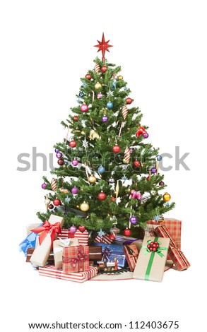 Beautiful christmas tree isolated on white background - studio shot - stock photo