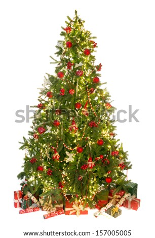 Beautiful christmas tree isolated on white with gifts and ornaments - stock photo
