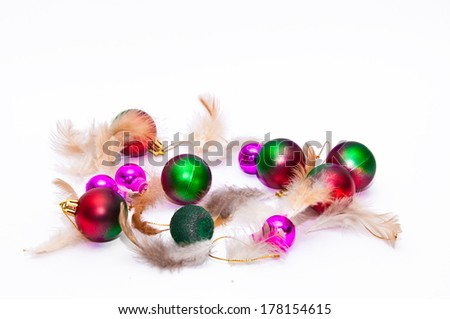 Beautiful christmas tree with balls - stock photo