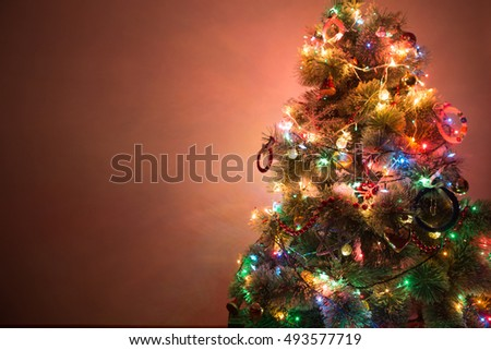 Multi Colored Christmas Trees Stock Images Royalty Free Images  - Colored Lights On Christmas Tree
