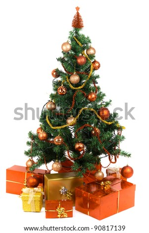 Beautiful Christmas tree with present and decorations - stock photo