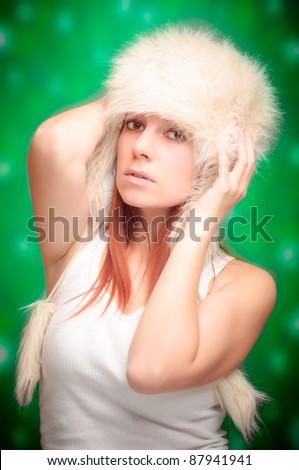 Beautiful christmas woman - stock photo