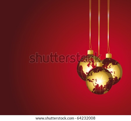 Beautiful christmas world ornaments. Red and gold festive background. - stock photo
