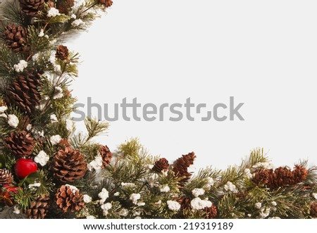 Beautiful Christmas Wreath Garland On White With Copy Space/ Horizontal Shot/ Perfect For Background - stock photo