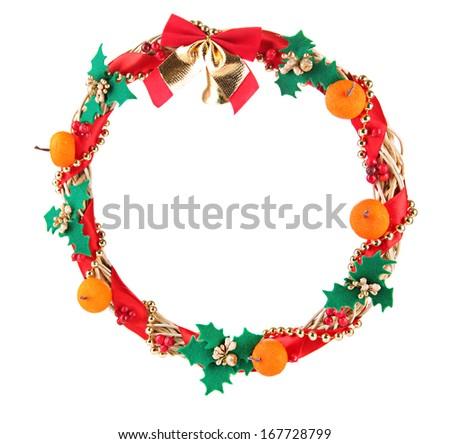 Beautiful Christmas wreath, isolated on white - stock photo