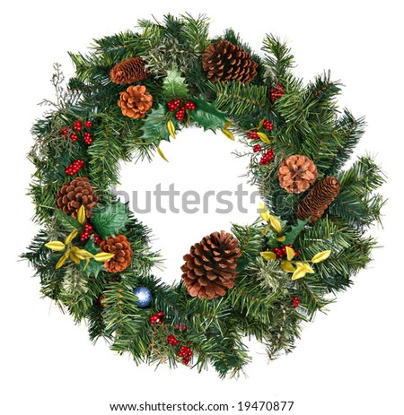 Beautiful Christmas Wreath Isolated on White - stock photo
