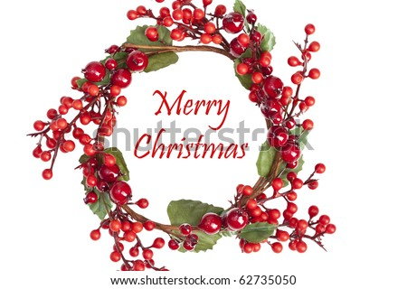 Beautiful Christmas Wreath, Isolated, White - stock photo