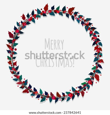 beautiful Christmas wreath with berries and holly leaves - stock photo