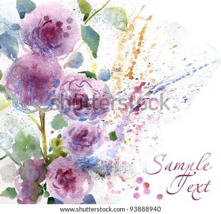 Beautiful chrysanthemums. Watercolor painting - stock photo
