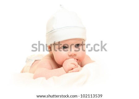 Beautiful chubby kid on a white background
