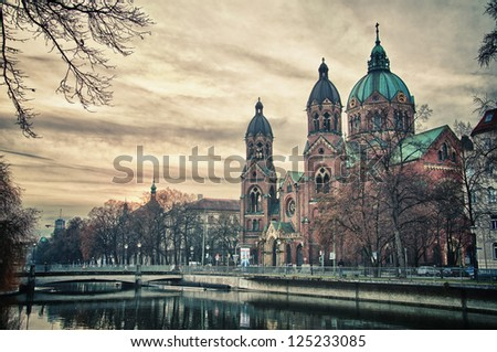 Beautiful church, a temple at sunset. Europe and landmark attractions of Munich, Germany - stock photo