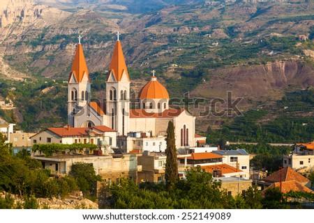 Beautiful church in Bsharri, Qadisha valley, Lebanon - stock photo