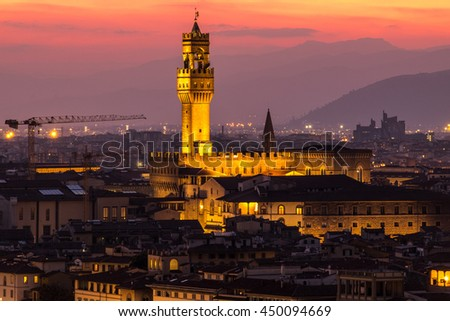 Beautiful church in florence at night - stock photo