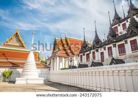 Beautiful church in temple, Bangkok Thailand - stock photo