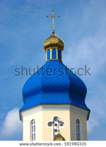 Beautiful church on a background of the blue sky