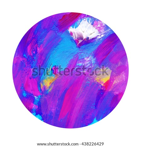 Beautiful circle design element hand painted with acrylics,pink and blue,isolated on white - stock photo