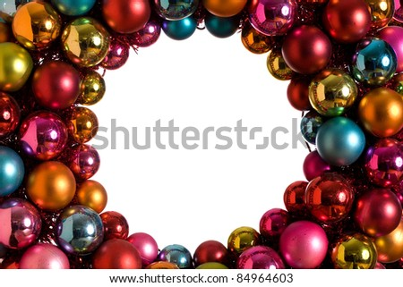 Beautiful circular Christmas Wreath.  White center is studio isolated with plenty of copy space and easy extraction.