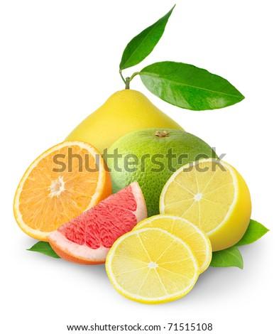 Beautiful citrus fruits isolated on white - stock photo