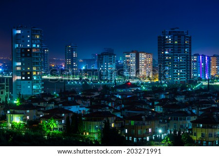 Beautiful city at night - stock photo