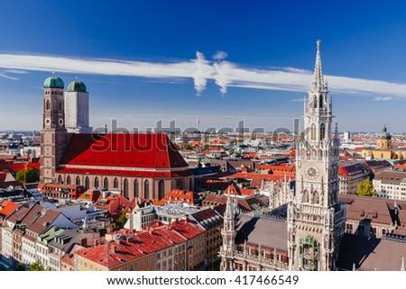 beautiful city centre view of Marienplatz, New Town Hall (Neues Rathaus), Glockenspiel, Frauenkirche with sky in Munich, (Bavaria, Germany) - stock photo