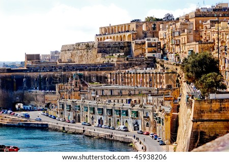 beautiful city landscape at the seaside in malta - stock photo