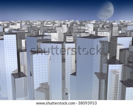 Beautiful city landscape in evening ( 3D illustration) - stock photo