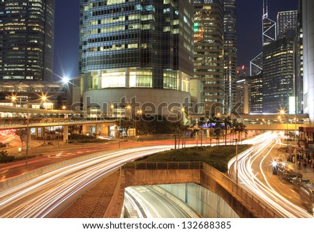 beautiful city life at night - stock photo