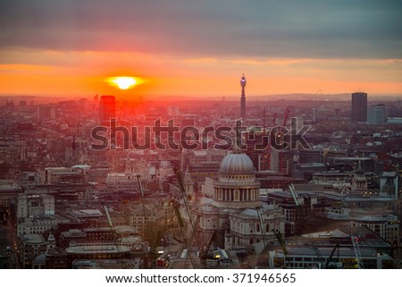 Beautiful city of London panorama during sunset / sunrise. River Thames and bridges on the other side. View from the Sky Garden skyscraper.  - stock photo