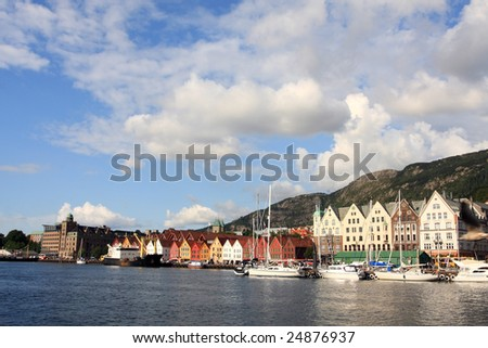 beautiful city view of Bergen city, summer holiday resort