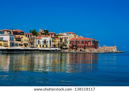 Beautiful cityscape and bay in city of Chania on island of Crete, Greece