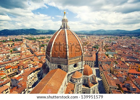 Beautiful cityscape and cathedral Santa Maria del Fiore in Florence, Italy - stock photo