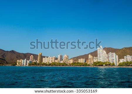 Beautiful cityscape and ocean view of Rodadero beach in Santa Marta, Colombia - stock photo