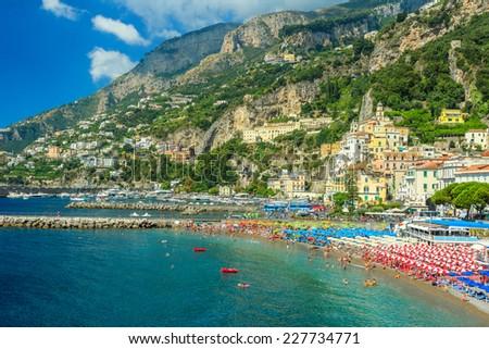 Beautiful cityscape,beaches and colorful umbrellas,Amalfi coast,Italy,Europe - stock photo