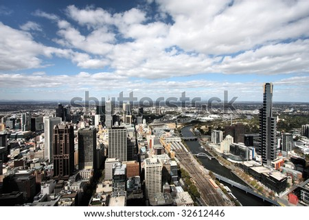 Beautiful cityscape of Melbourne and Yarra River. The prominent building is Eureka Tower, which is the world's tallest residential tower when measured to its highest floor. - stock photo