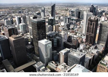 Beautiful cityscape of Melbourne, Australia. Multitude of skyscrapers. - stock photo