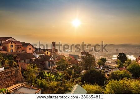 Beautiful cityscape panorama of Antananarivo, Madagascar, at sunset - stock photo