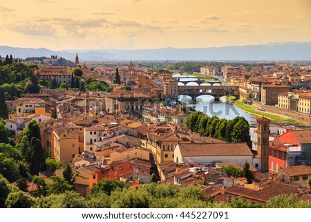 Beautiful cityscape skyline of Firenze (Florence), Italy, with the bridges over the river Arno - stock photo
