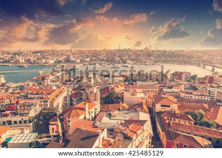 Beautiful cityscape. View of Istanbul at sunset - stock photo