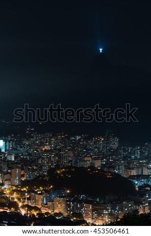 Beautiful cityscape view of Rio de Janeiro with Christ Redeemer, Rio De Janeiro, Brazil - stock photo