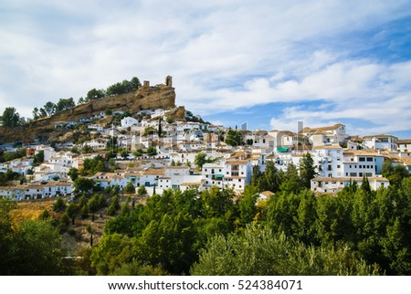 Beautiful cityscape with castle on  hill in Montefrio in Spain