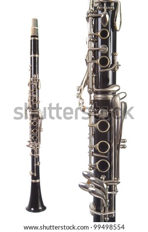 Beautiful clarinet isolated on white background both close up and full view