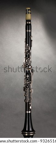 beautiful clarinet on a gray background - stock photo