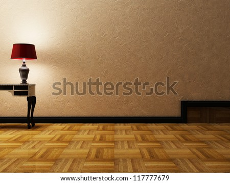 beautiful classic lamp in an empty room - stock photo